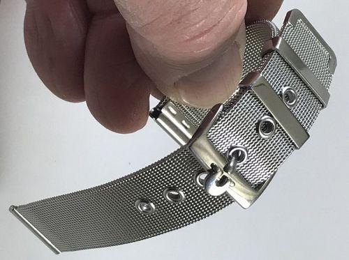 OMEGA 18mm Stainless Steel Logo Buckle 18mm Generic MESH METAL STRAP