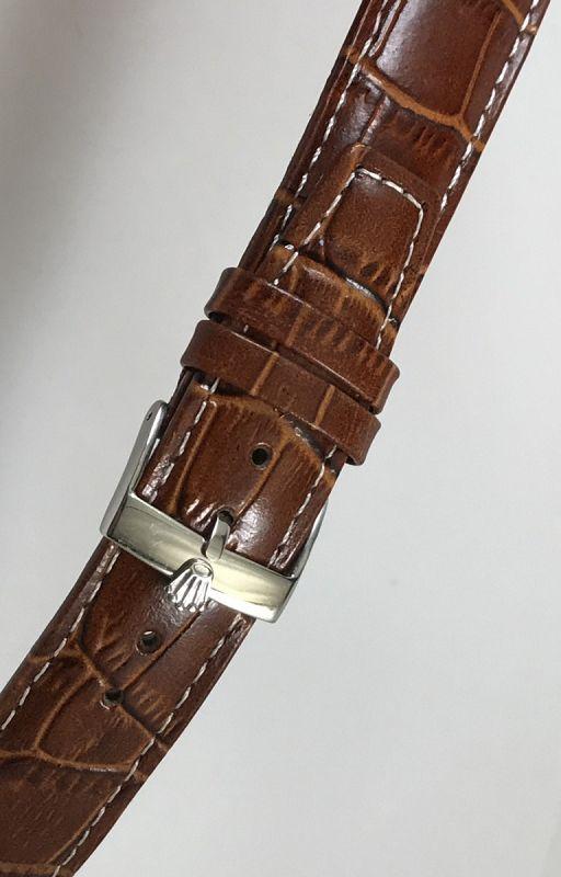 ROLEX 18mm Steel Logo Buckle 20mm Crocodile Pattern Stitched Leather