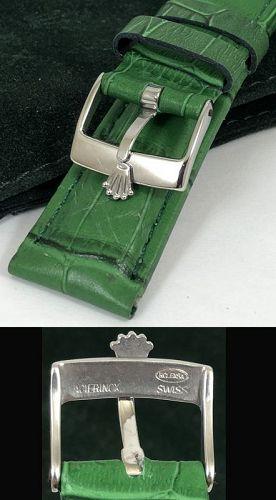 ROLEX DATE 16mm Steel Logo Buckle GREEN 19mm Genuine Leather