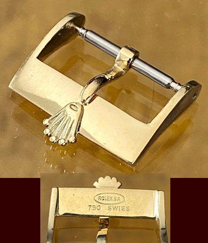 Vintage ROLEX 16mm 18k GOLD Logo Buckle 750 LARGE CROWN ROLEXSA SWISS