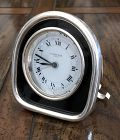 CARTIER ALARM Paris Chapell Round Travel Clock White Metal 80mm 1979