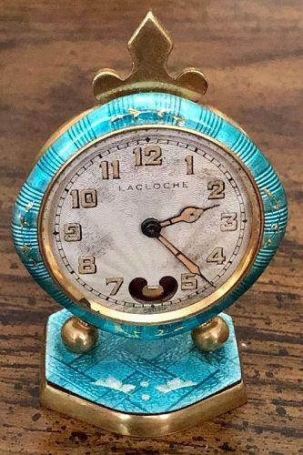 Torqueise Blue Cloisonne Swiss TRAVEL CLOCK 41mm Original Dial 1890