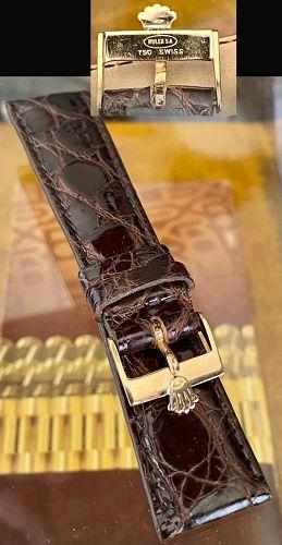 Vintage Rolex ROSE 18k Gold Buckle 20mm CROCODILE Tobacco color