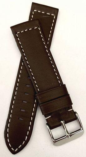 DARK BROWN WHITE STICHED genuine Leather 22mm GERMAN CRAFTMANSHIP