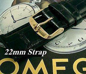 Omega Gold Plate Logo Buckle 22mm Black African Croco Strap  C: 1972