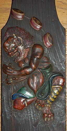 Hashira-kakushi wooden post cover, Raiden, Ogata Kenzan studios, Japan
