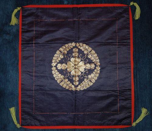 Satin fukusa gift cloth, gold thread embroidered crest, Japan Meiji