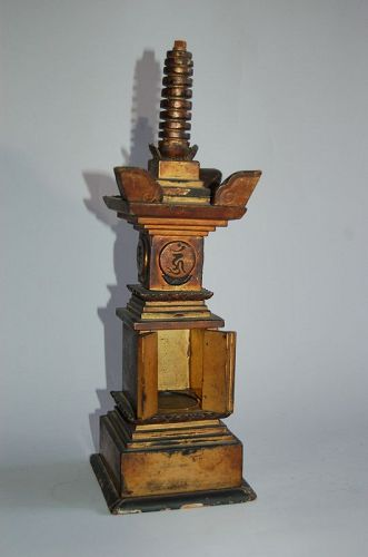Reliquary pagoda sutra holder, lacquered wood, Japan, 19th c.