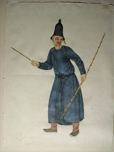 Hand-painted watercolor, man holding two rods, England or France
