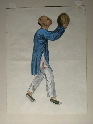 Hand-painted watercolor, Chinese beating hand drum, England or France