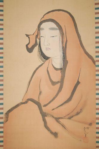 Hanging scroll, Onna Daruma portrait, Taisho era Japan