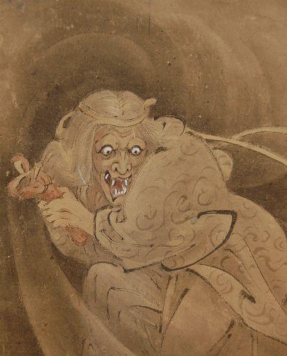 Scroll painting, Watanabe no Tsuna at Rashomon, Yoshimitsu, Japan