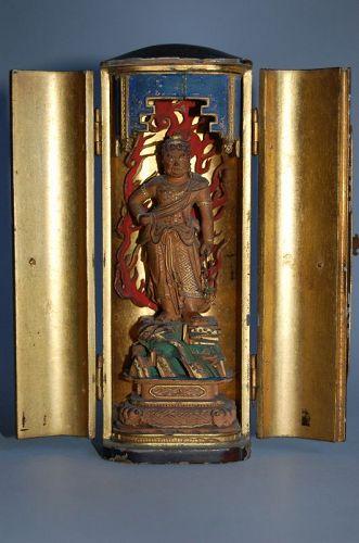 Zushi Buddhist shrine, Fudo Myoo standing with sword and rope, Japan