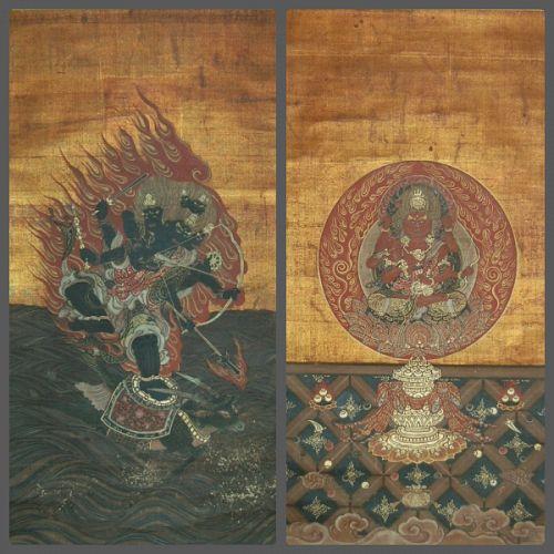 Pair scroll paintings: Aizen Myoo and Daiitoku Myoo on buffalo, Japan