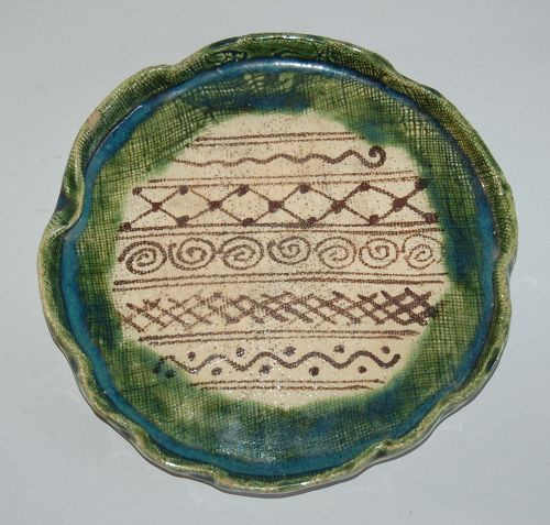 Ceramic aburazara, lotus leaf-shape, Seto region Oribe, Japan