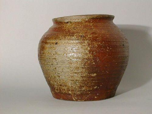 Stoneware storage jar with ash glaze, Nanban ware, Japan