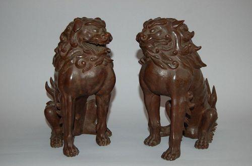 Pair of komainu guardian dog figures, finely cast bronze, Japan