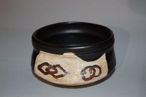 Chawan tea bowl, black Oribe stoneware, Mizuno Juzan, Japan