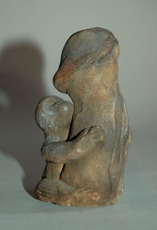 Ceramic sculpture of monkey with matsudake mushroom, Japan