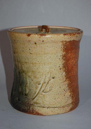 Mizusashi water jar, Hikoshiro Nishio, Shigaraki stoneware, Japan