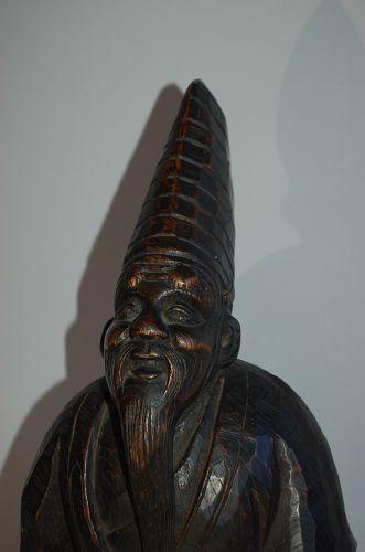 Zelkova wood sculpture, sambaso dancer, New Year, Japan