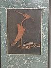 Framed painting, heron, tsutsugaki, Japan, 19th c.