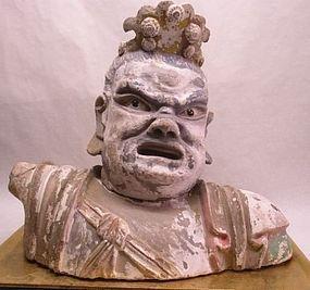 Yuan Dynasty stucco Lokapala bust v9