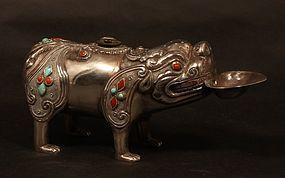 Tibetan vintage silver figural oil lamp chased with coral