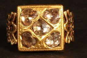 Mens  Kundan Diamond ring 20k gold