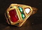 Mens Kundan Diamond Emerald and a jellybean sized ruby in 20k gold