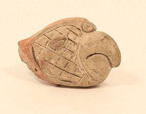 Mayan Pre Columbian terracotta parrot head