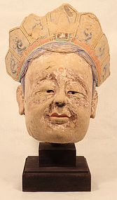 Sung-Ming Dynasty Stucco Guanyin head statue v9