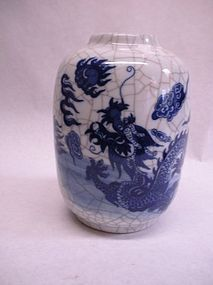 Chinese crackle glazed vase with a cobalt blue dragon