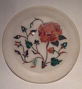 Pietra dura grand tour white marble inlaid plate with flowers