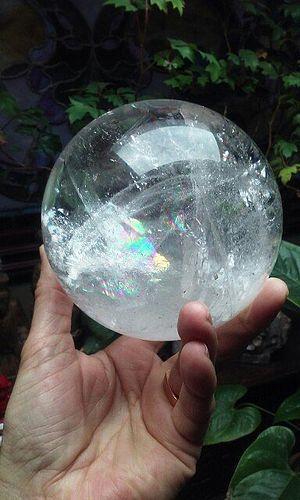 Large Quartz Crystal Sphere with Rainbows
