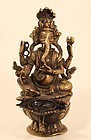 Nepalese Lost Wax Cast Hindu God Ganesha Oil Lamp v5