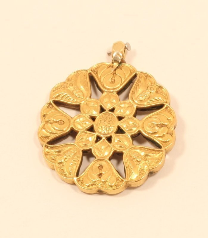 18th-19thc Mughal 20k Gold white Sapphire and Ruby Pendant