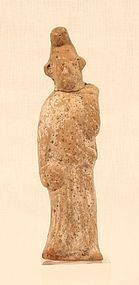 Chinese Tang Dynasty Terracotta Tomb Figure of a Court Figure