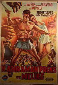 1961 The Minotaur Turkish Lithograph Poster with Bob Mathias