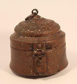 Indian lidded copper pot