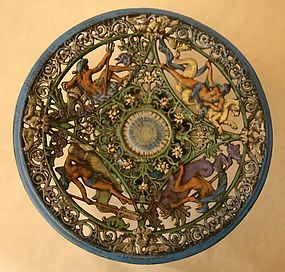 Vintage Painted Cast Iron NeoClassical Tazza with Sea Gods