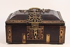 17th-18thc Hindu Indian Jackwood and Brass Jewel Casket