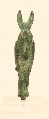 Seated Bronze Figure of Anubis On a throne