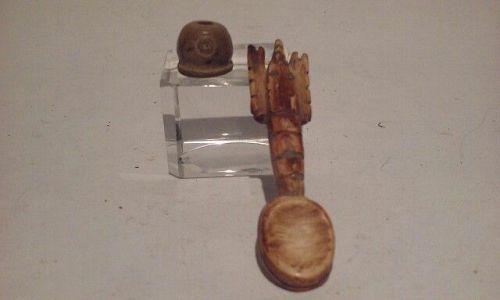 Pre Columbian Peruvian Chavin Bone Crawfish shaped Spoon and Bead
