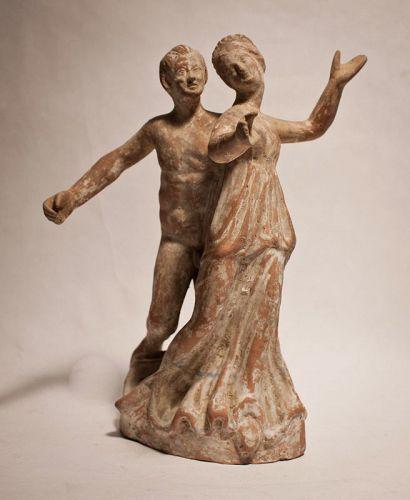 Tanagran Apollo and Daphne Terracotta figure