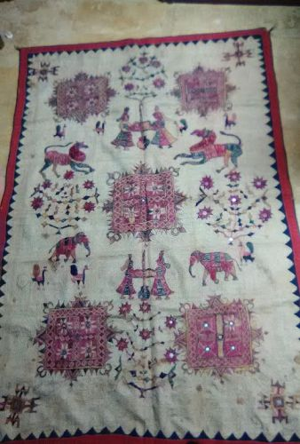 India 19thc Kantha silk embroidered Tapestry v6