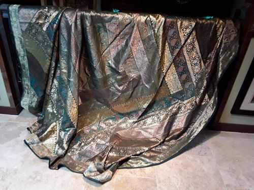 Gorgeous Indian Wedding Sari Trim Bed Cover