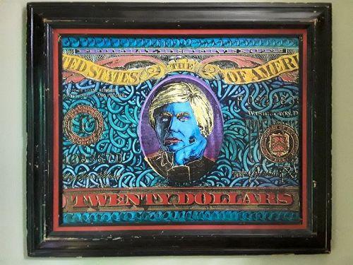 After Steve Kaufman  Original Acrylic painting Andy Warhol