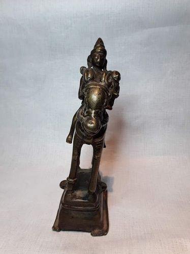 18th- 19th c Hindu South Indian Bronze Khandoba & Mhalsa