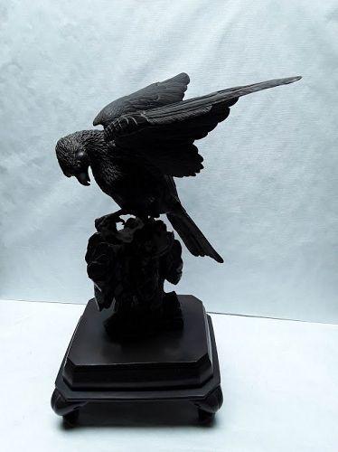 Japanese Meiji Bronze Hawk Okimono on Rockery base signed
